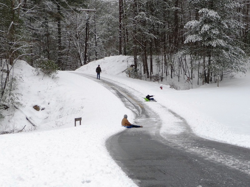 Sledders on Sautee Trail